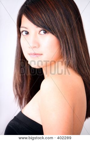 Asian Woman Black Top