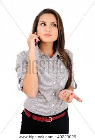 Isolated young business woman thinking