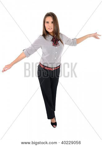 Isolierte young Business Woman walking Seil