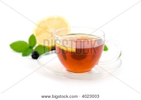Transparent Teacup With Tea Isolated