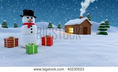 Snowman Winter Background