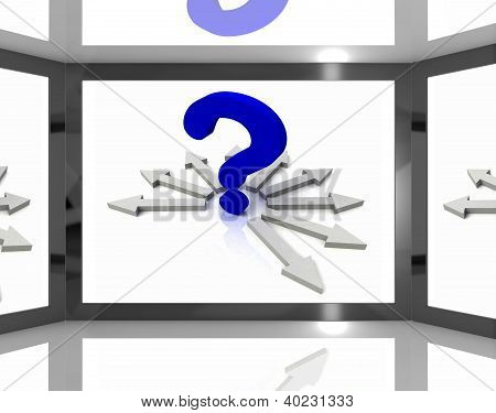 Question Mark On Screen Shows Questions Tv Show