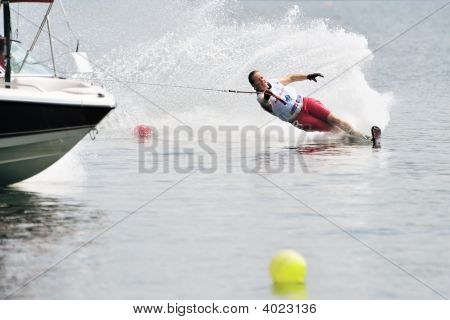 Water Ski In Action: Woman Slalom