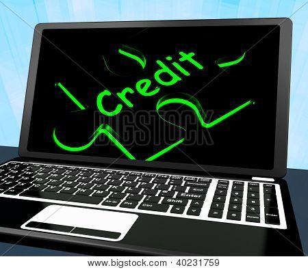 Puzzle de crédito em Laptop mostra Ecommerce