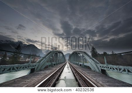 mystical train bridge made of steel