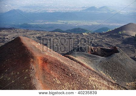 Volcano And Lava Fields On The Etna