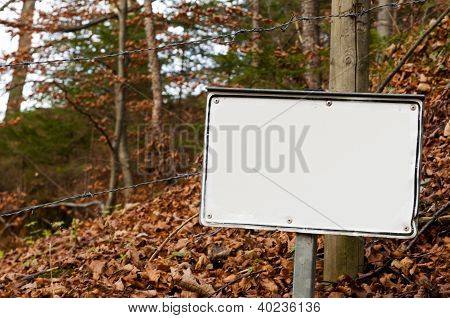 white sign in forest