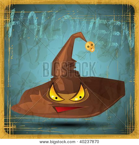 EPS10 vintage grunge old card. Halloween magical hat.