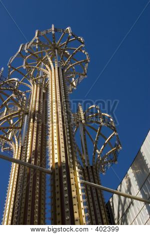 Metal Umbrellas With Bulbs And Lights In Las Vegas