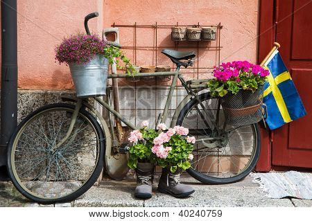 Flower Decorated military Bike In Defense area Stockholm