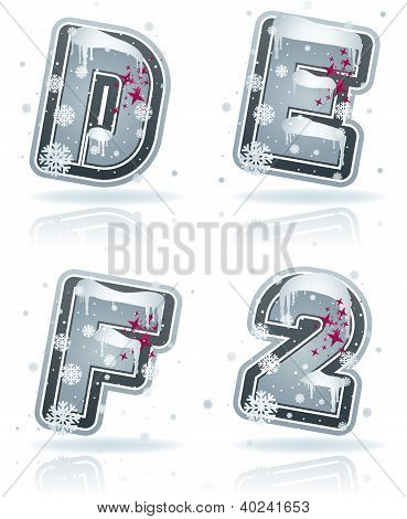 Winter Digits & Capital Letters