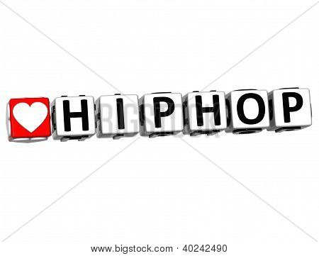 3D Love Hiphop Button Click Here Block Text
