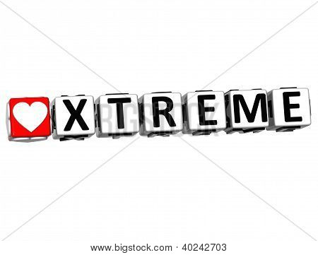 3D Love Xtreme Button Click Here Block Text