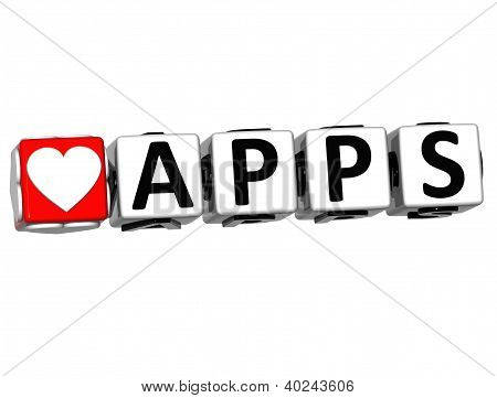 3D Love Apps Button Click Here Block Text