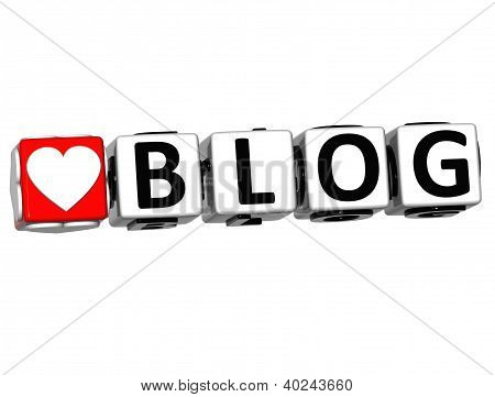3D Love Blog Button Click Here Block Text