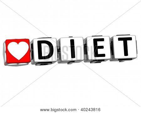 3D Love Diet Button Click Here Block Text