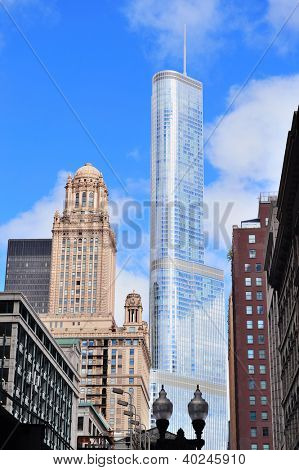 CHICAGO, IL - Oct 1: Trump Tower Chicago closeup on October 1, 2011 in Chicago, Illinois. Upon its completion in 2009 with hieght 1,362 feet, it is the seventh-tallest building in the world.