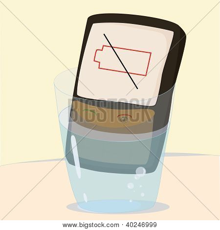 phone in glass of water