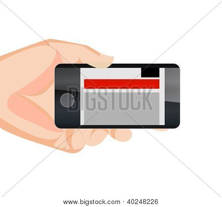 Responsive Mobile Web Site Horizontal With Hand
