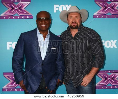 .LOS ANGELES - DEC 17:  L.A. Reid, Tate Stevens at the 'X Factor' Season Finale Press Conference at CBS Television City on December 17, 2012 in Los Angeles, CA