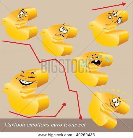 Cartoon Emotions Euro Icon Set