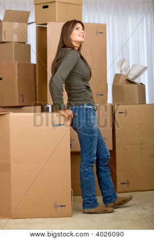 Woman Moving Homes