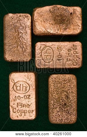 Pure Copper Bullion Bars - Ingots