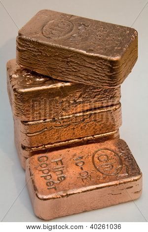 Stacked Copper Bullion Bars - Ingots