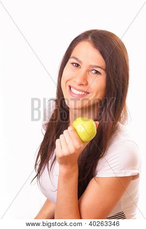 Beautiful Young Woman With An Apple