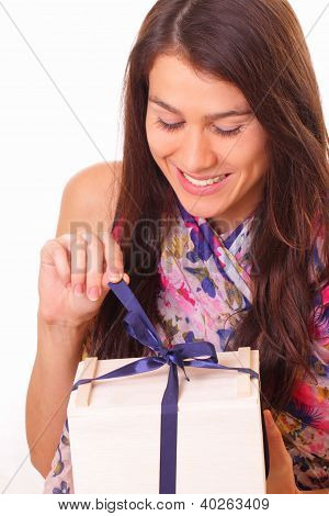 Beautiful Young Woman With Holiday Gift