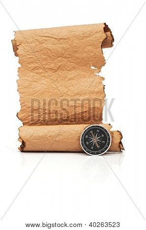 Hand made paper scroll with compass on white
