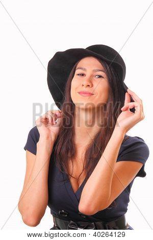 Pretty Woman In A Black Hat