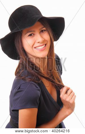 Attractive And Happy Young Woman In A Black Hat
