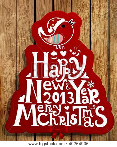 Happy New Year 2013 and Merry Christmas lettering label for Xmas design, bird, snowflake and red ribbon bow, woos background, eps10 vector illustration