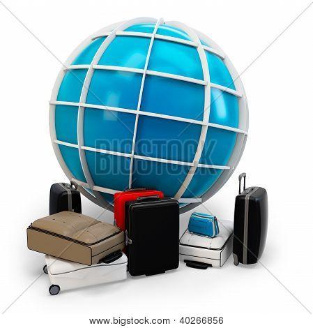 3D Global viajando con montón de equipaje