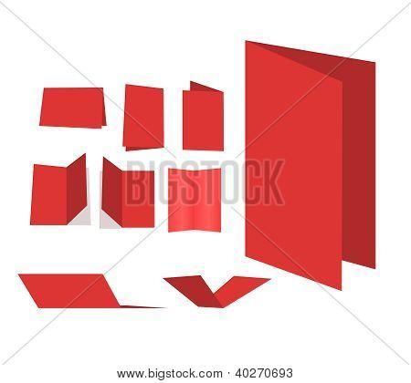 Blank Red Brochure