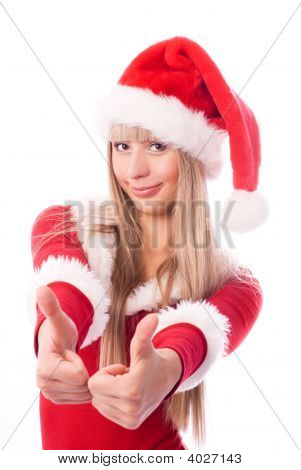 Girl Dressed As Santa With Her Thumbs Up