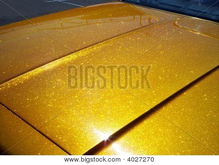Golden Car Hood. Metal Flake Oh Ya....