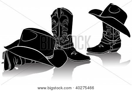 Cowboy Boots And Western Hats.black Graphic Image On White Background