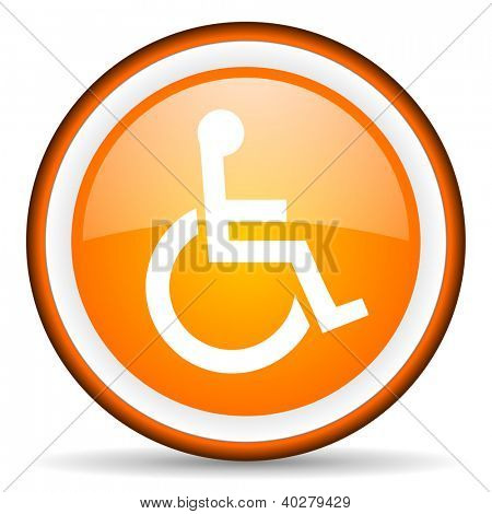 accessibility orange glossy icon on white background