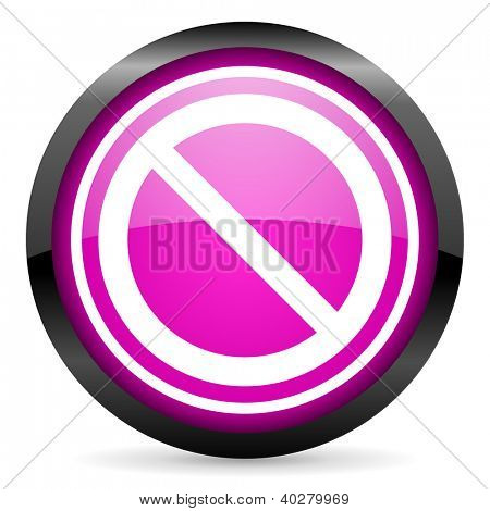 access denied violet glossy icon on white background