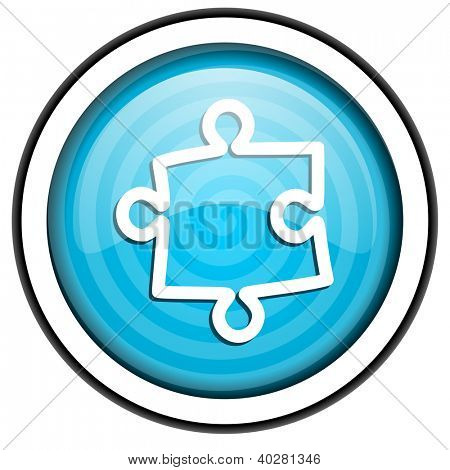 puzzle blue glossy icon isolated on white background