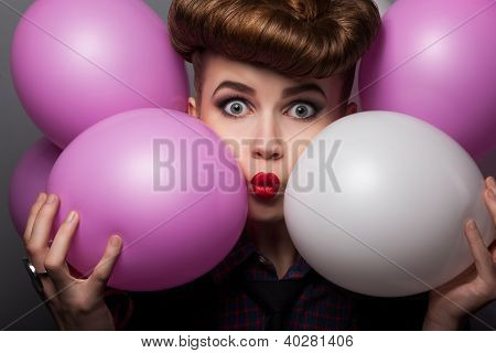 Ridiculous Girl With Colorful Air Balloons Enjoying