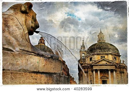 Rome' fountains, piazza dei Popolo, artistic vintage picture