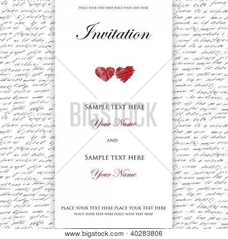 Wedding invitation with to hearts on handwrite seamless background