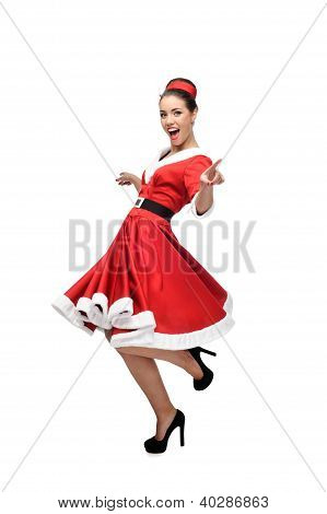 cheerful dancing retro girl
