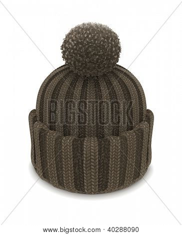 winter knitted bubble hat vector illustration isolated on white background EPS10. Transparent objects and opacity masks used for shadows and lights drawing