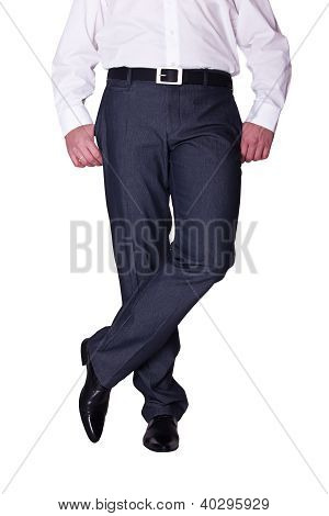 Legs Man In Pants And Shoes