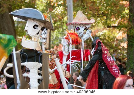 Skeleton Puppeteers Perform In Atlanta Halloween Parade