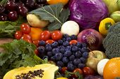 image of healthy food  - Healthy organic vegetables and fruits as background - JPG